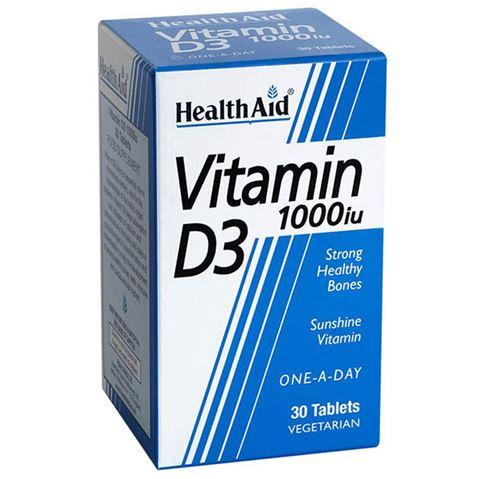 Health Aid βιταμίνη D3 1000iu, 30 Ταμπλέτες