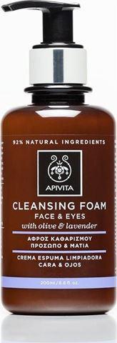 Apivita Αφρός Καθαρισμού Πρόσωπο & Μάτια με ελιά & λεβάντα 200ml