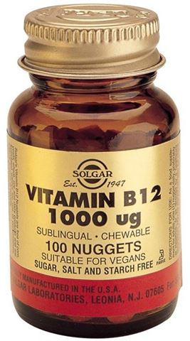 Solgar Vitamin B-12 1000ug, 100 Υπογλώσσιες Ταμπλέτες