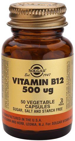 Solgar Vitamin B-12 500ug 50 Φυτικές Κάψουλες