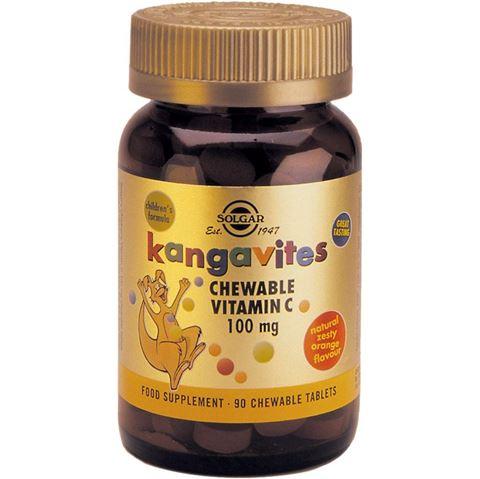 Solgar Kangavites Vitamin C 100mg, 90 Μασώμενες Ταμπλέτες 3 Ετών & Άνω, Orange