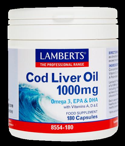 Lamberts Cod Liver Oil 1000mg, 180 Κάψουλες