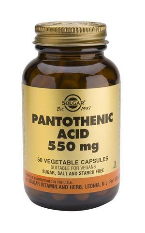 Solgar Pantothenic Acid 550mg, 50 Φυτικές Κάψουλες