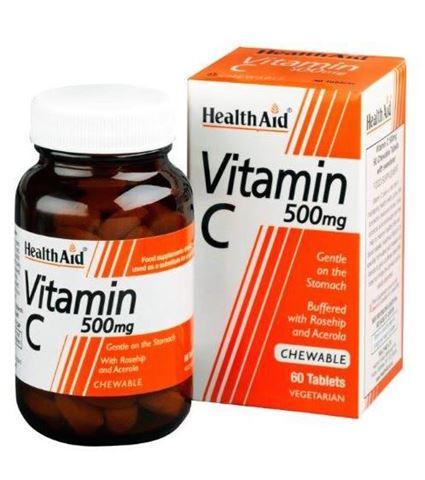 Health Aid Vitamin C 500mg with Rosehip & Acerola 60 Μασώμενες Ταμπλέτες
