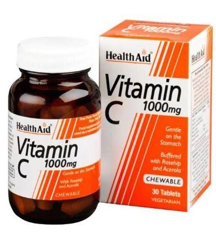 Health Aid Vitamin C 1000mg with Rosehip & Acerola 30 Μασώμενες Ταμπλέτες