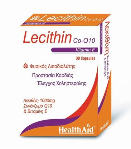 Health Aid Lecithin with Co-Q-10 & Vitamin E, 30 Κάψουλες