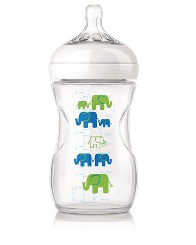 Avent Natural Πλαστικό Μπιμπερό 260ml - χωρίς BPA σχέδιο μπλέ SCF627/17, 1m+