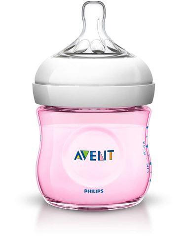Avent Natural Πλαστικό  Μπιμπερό 125ml - χωρίς BPA Ροζ SCF691/17, 0m+