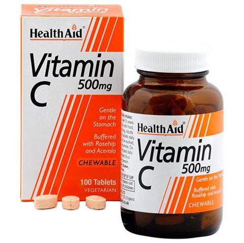 Health Aid Vitamin C 500mg with Rosehip & Acerola 100 Μασώμενες Ταμπλέτες