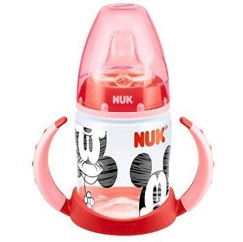NUK First Choice Disney Mickey 150ml ΡΡ Μπιμπερό Εκπαιδευτικό με 2 Λαβές Θηλη Σιλικόνης Μεγέθους 1, 0-6m Κόκκινο - Ρόζ