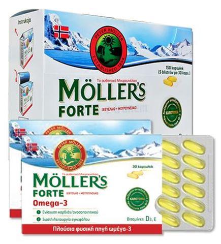 Moller's Μουρουνέλαιο Forte Omega-3, 150 Κάψουλες