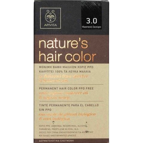 Apivita Nature's Hair Color N3,0 Καστανό σκούρο, 145gr