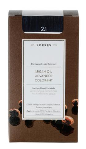 Korres Βαφή Μαλλιών Argan Advanced Colorant 2.1 Μαυρο Μπλε 145ml