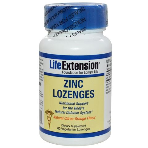 Life Extension Zinc Natural Citrus-Orange Flavor 18,75mg, 60 Lozenges