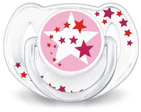 Avent Νυχτερινή ορθοδοντική πιπίλα σιλικόνης, Ροζ 6-18 μηνών Χωρίς BPA, Συσκευασία 2 Τεμαχίων, SCF176/24