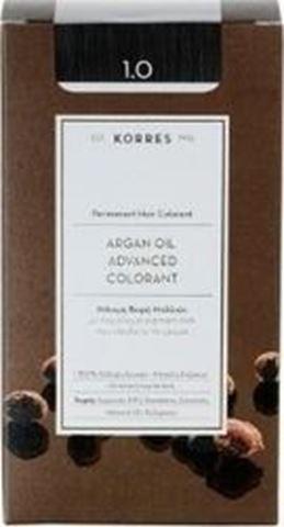 Korres Βαφή Μαλλιών Argan Advanced Colorant 1.0 Μαύρο Φυσικό 145ml