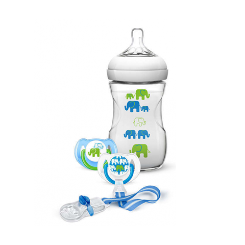 Avent Natural Μπιμπερό 260ml - χωρίς BPA Μπλε Πράσινο SCF627/01, 1m+, 2 πιπίλες, 1 κλιπ πιπίλας - σχέδιο μπλέ/πράσινο