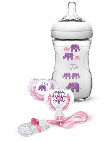 Avent Natural Πλαστικό Μπιμπερο 260ml - χωρις BPA Ροζ, 2 πιπιλες, 1 κλιπ πιπιλας - σχεδιο ροζ/μωβ, SCD628/01