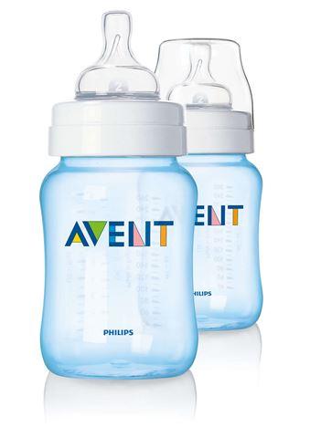 Avent Classic Δύο Πλαστικό Μπιμπερό των 260ml - χωρίς BPA, Μπλε, SCF685/27, 1m+