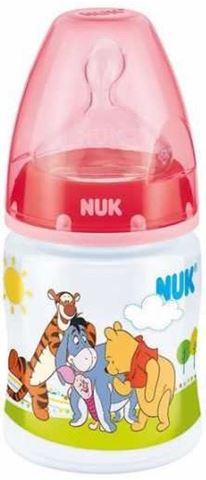 NUK First Choice ΡΡ Disney Winnie Μπιμπερό 150ml Θηλη Σιλικόνης Μεγέθους 1, 0-6m Κόκκινο