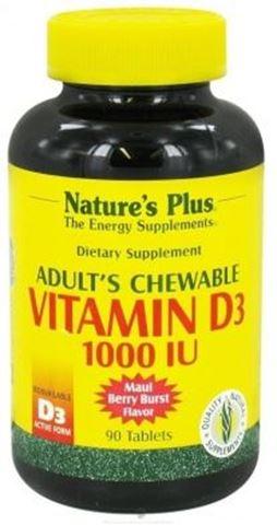 Nature's Plus Adult's Vitamin D3, 1000 IU, 90 Μασώμενες Ταμπλέτες