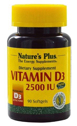 Nature's Plus Vitamin D3 2500 IU, 90 Μαλακές Κάψουλες