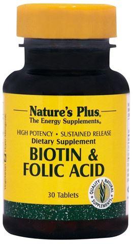 Nature's Plus Biotin & Folic Acid 30 Ταμπλέτες