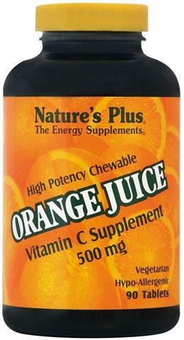 Nature's Plus Orange Juice C 500mg, 90 Μασώμενες Ταμπλέτες