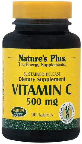 Nature's Plus Vitamin C w/ Rose Hips 500mg, 90 Ταμπλέτες