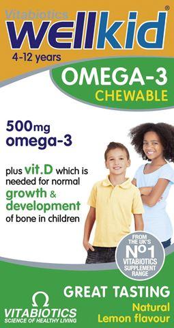 Vitabiotics Wellkid Omega-3, 60 Mασώμενες Tαμπλέτες, 4-12 ετών Natural Lemon Flavour