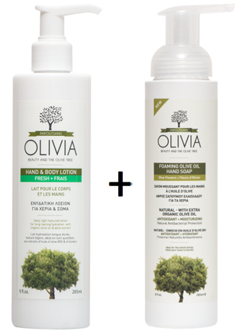 Olivia Hand & Body Lotion 265ml Δώρο Olivia Foaming Hand soap Olive Flowers 265ml