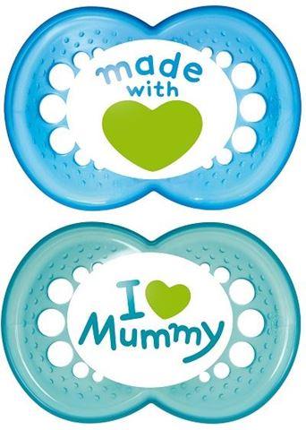 MAM I love Mummy/Daddy Θηλή Σιλικόνη, 6-12 Μηνών, Μπλε, 170S, Συσκευασία των 2 Τεμαχίων