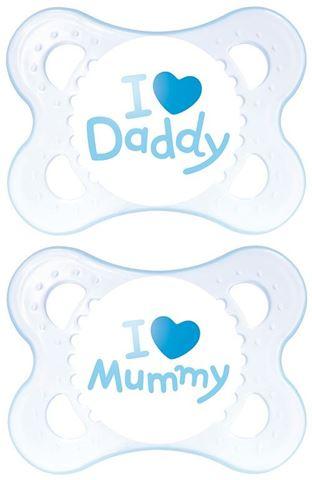 MAM I love Mummy/Daddy Θηλή Σιλικόνη, 0-6 Μηνών, Γαλάζιο, 115S, Συσκευασία των 2 Τεμαχίων