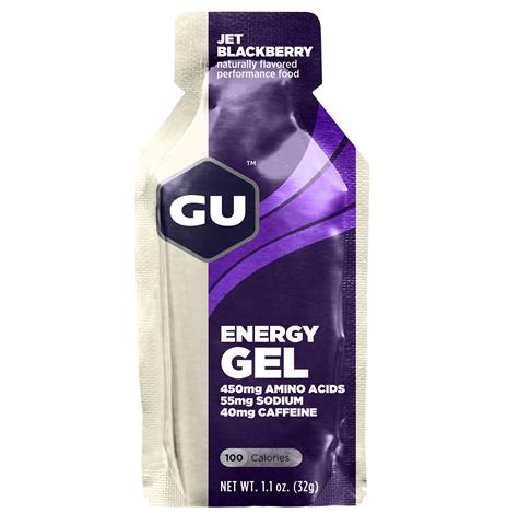 Ενεργειακό gel GU - Γεύση Μαύρο Μούρο (Jet Blackberry) - καφεΐνη 40mg (διπλή δόση) 32gr