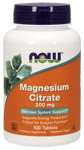 Now Foods Magnesium Citrate 200mg, 100 Ταμπλέτες