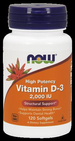 Now Foods Vitamin D3, 2.000 IU, 120 Μαλακές Κάψουλες