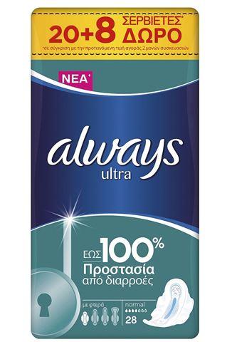 Always Ultra Normal Σερβιέτες, 20+8 Δώρο