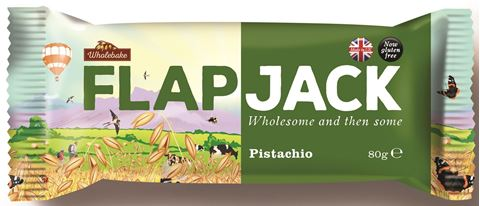 Wholebake Μπάρα βρώμης FLAPJACK Φυστίκι Αιγίνης 80gr