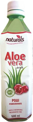 Naturals Aloe Vera με Γεύση Ρόδι Natural 30% Πολτός, 500ml