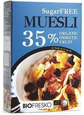Βιοφρέσκο Muesli με 35% ελληνικά φρούτα φυσικής όσμωσης χωρίς ζάχαρη 350gr