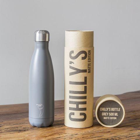 Chillys Matte Grey Παγούρι από Ανοξείδωτο Ατσάλι 500ml