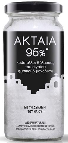 Ακταία  95%* Κρύσταλλοι Θάλασσας Του Αιγαίου  Με Τη Δύναμη Του Ήλιου 200g