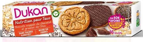 Dukan Μπισκότα Βρώμης Με Επικάλυψη Σοκολάτας Και Σπόρους Chia 150gr