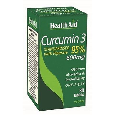 Health Aid Curcumin 3 with Piperine 600mg, 30 Ταμπλέτες