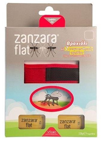 Zanzara Flat Αντικουνουπικό Βραχιόλι Χρώμα Κόκκινο, Μέγεθος M/L, 26cm, Με 2 Ταμπλέτες, 1 Τεμάχιο
