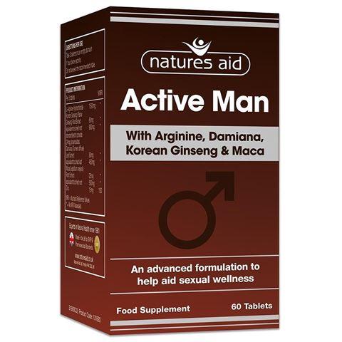 Natures Aid Active Man with Arginine, Korean Ginseng and Maca, 60 Ταμπλέτες