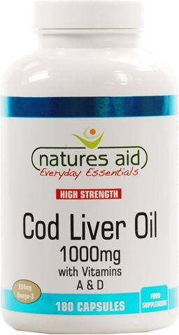 Natures Aid Cod Liver Oil (High Strength) 1000mg 180 Μαλακές Κάψουλες