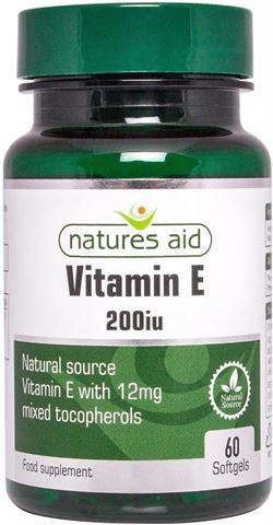 Natures Aid Vitamin E 200iu Natural Form 60 Softgels