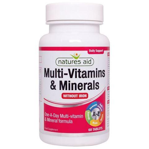 Natures Aid Men's Multi-Vitamins & Minerals (without Iron) (Vegetarians & Vegans) 60 Ταμπλέτες