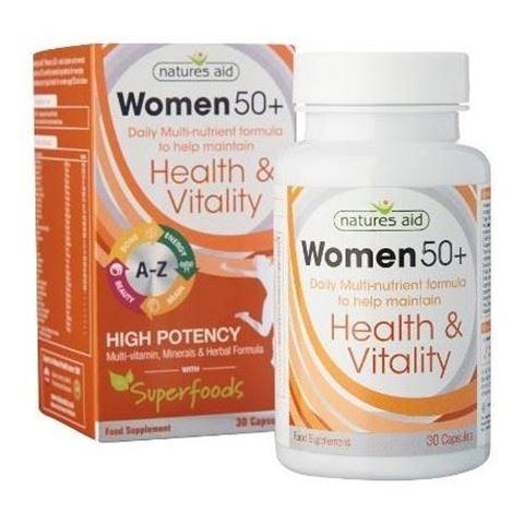 Natures Aid Women 50+ Multi-Vitamins & Minerals (with Superfoods), 30 Φυτικές Κάψουλες